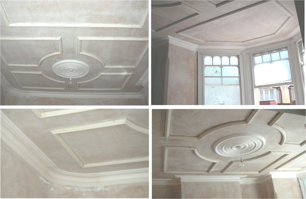 Ornamental Ceiling with bay. Curved cornice run in situ. (Before ...
